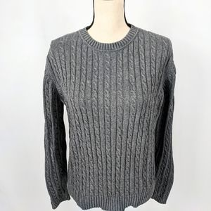Croft &  Barrow Gray Cableknit Crew Sweater M